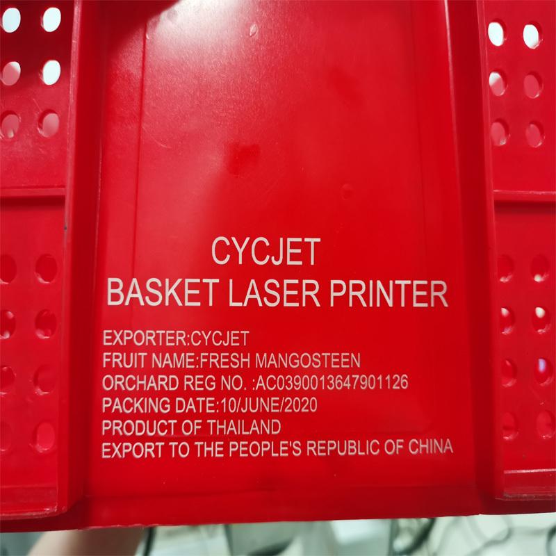 CYCJET UV Laser marking machine print message on  Thailand fruit basket~1