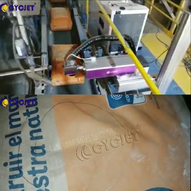 How to Print Cement Bags by CYCJET LC30F CO2 Fly Laser Marking Machine Online Laser Marking