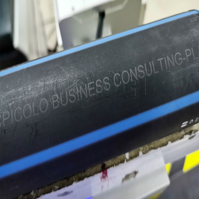 How to Print on the Black PE Pipe by CYCJET UV Laser Marking Machine Laser Printer Online Marking