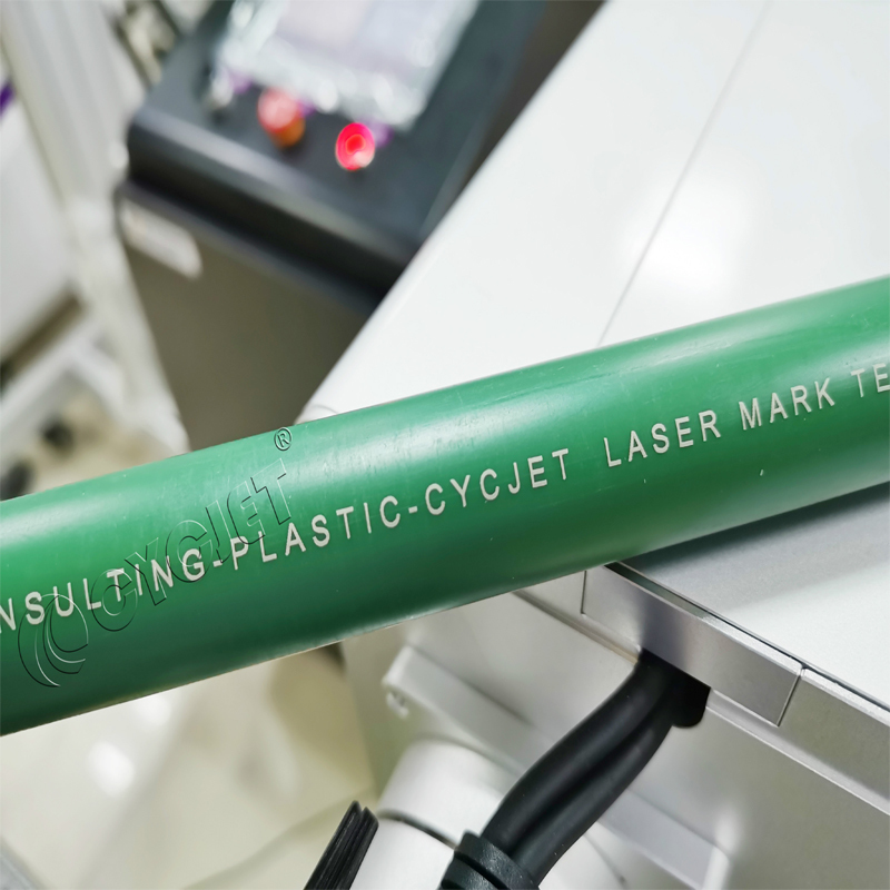 CYCJET UV Laser Marking Machine for the Green PPR Pipe Laser Printing Laser Marker Online Marking
