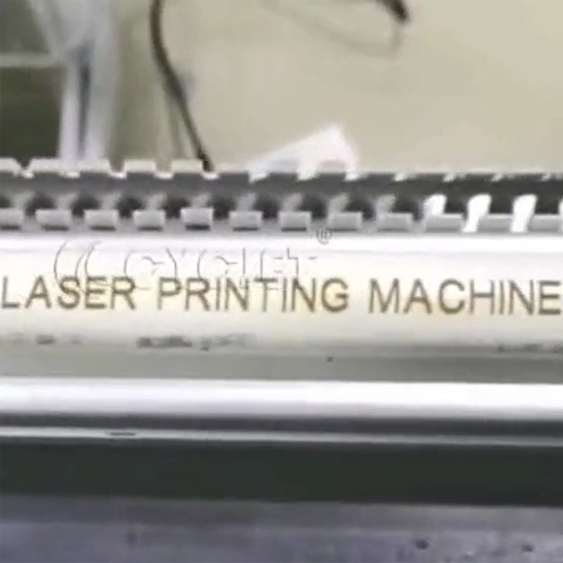 CYCJET Fly Laser Marking Machine Print on the White Pipe Online Marking Fly Laser Coding Printer