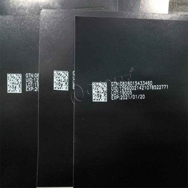 The Demo Testing of CYCJET CO2 Fly Laser Marking Machine for Black Paper Card QR Code Online Marking