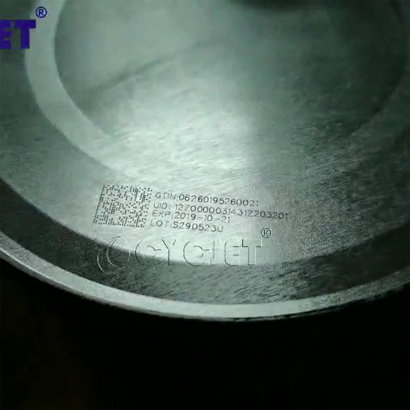 How to Mark QR Code on Milk Powder Tank by CYCJET High-speed Laser Marking Machine Fly Laser Printer