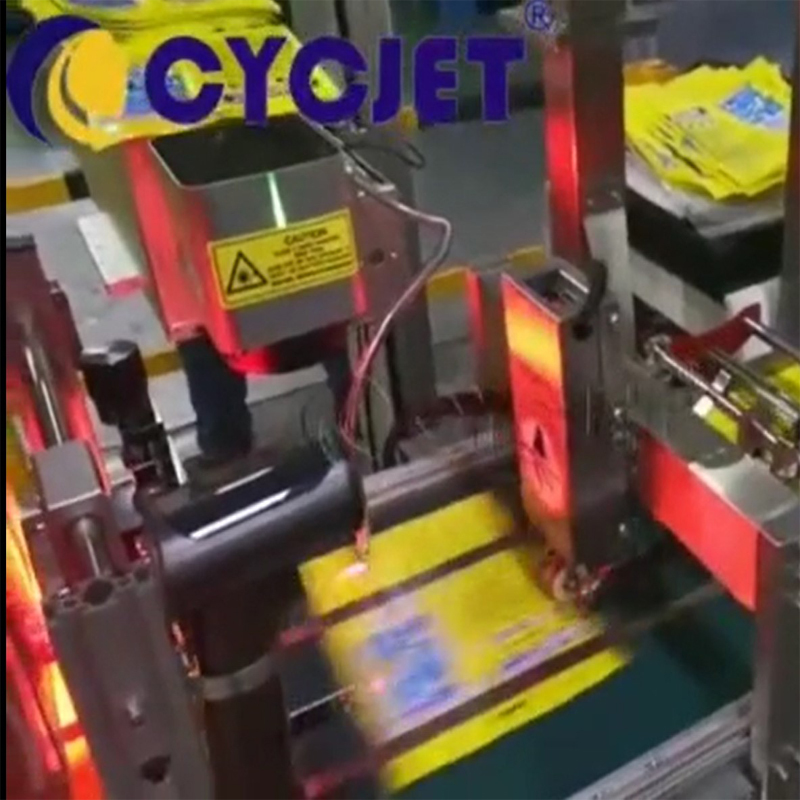 How to Mark Date on the Plastic Bags by CYCJET High-speed Laser Marking Machine Fly Laser Printer