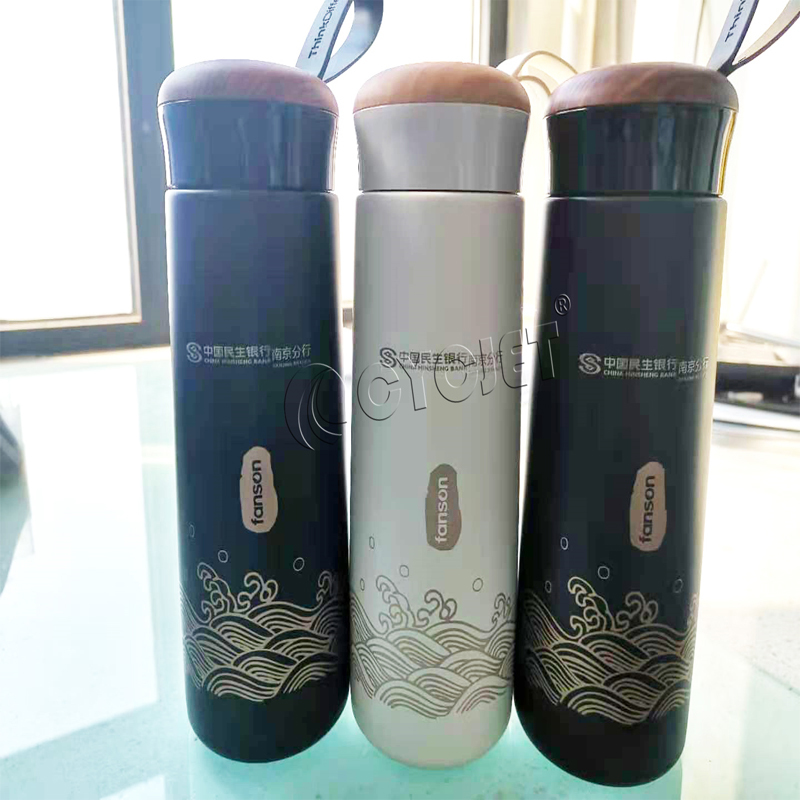 How to Mark on Thermos Cup by CYCJET 20W Portable Fiber Laser Marking Machine Static Laser Printer